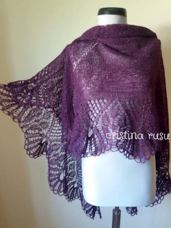Plum ,Purple  hand knitted alpaca lace shawl ,mohair shawl, Wedding shawl ,Gift for her by CrisColourCrochet on Etsy