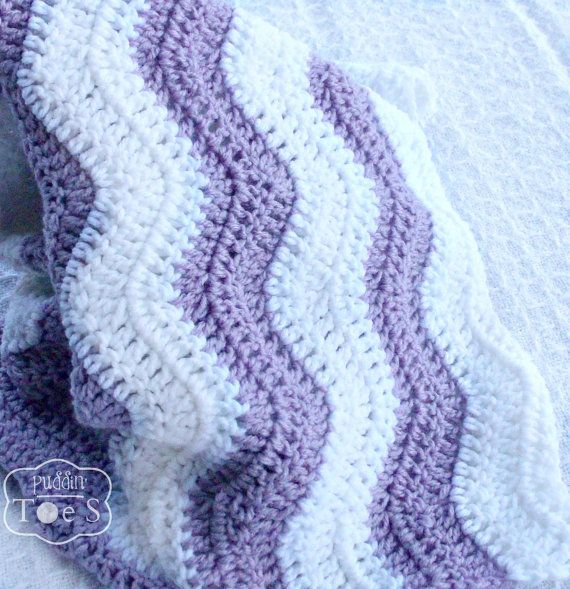 Relisted... Crochet Lavender Baby Blanket  Baby Girl Chevron  by puddintoes
