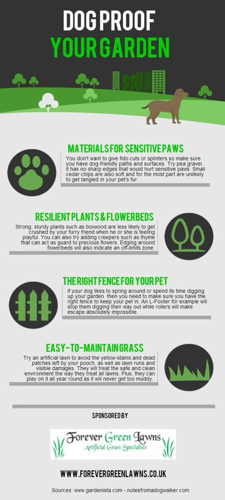 How To #Dog Proof Your #Garden. Great #Infographic by Forever Green Lawns. http://www.forevergreenlawns.co.uk