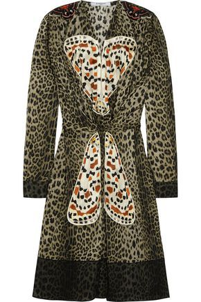 GIVENCHY WOMAN LEOPARD-PRINT SILK DRESS WITH BUTTERFLY APPLIQUÉ. #givenchy #cloth #