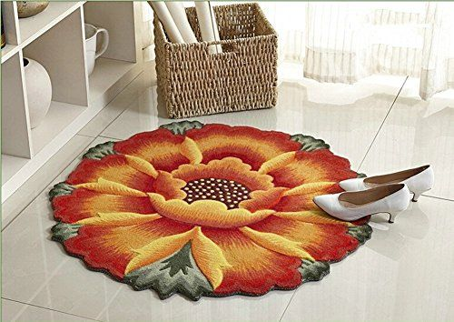 "MeMoreCool Elegant Lotus Round Area Rugs Computer Chair/Sofa Side Carpet Yellow Flowers Round Mat Stairway/Floor/Kitchen/Living Room Mats 35"" MeMoreCool http://www.amazon.co.uk/dp/B01CWMKNTQ/ref=cm_sw_r_pi_dp_pbd9wb12SX8JK"