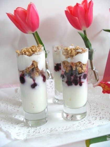 blueberry yogurt parfaits for Mother's Day brunch