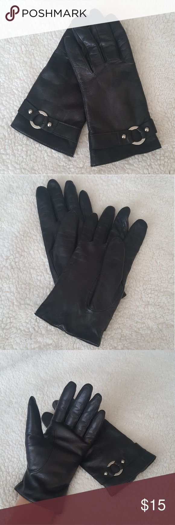 Black leather gloves small - Genuine Leather Gloves