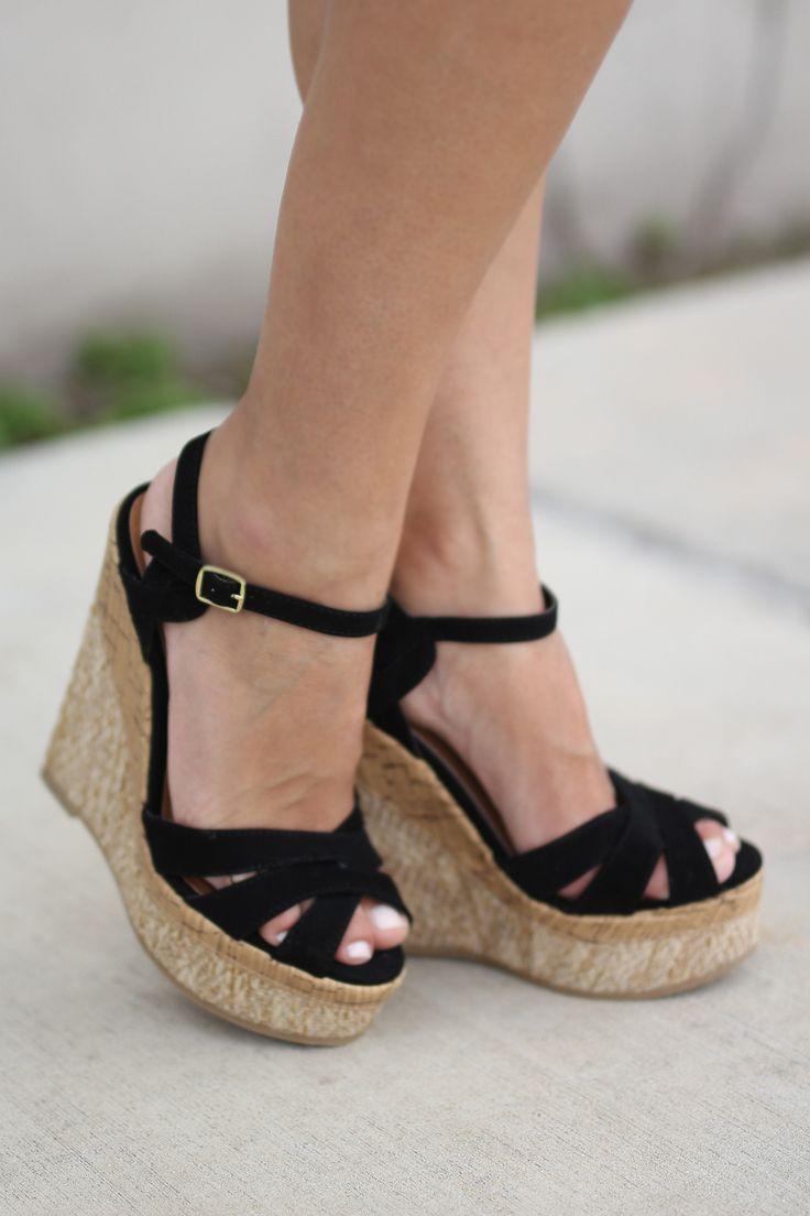 Black wedge sandals 2 inch heel - Black Wedges
