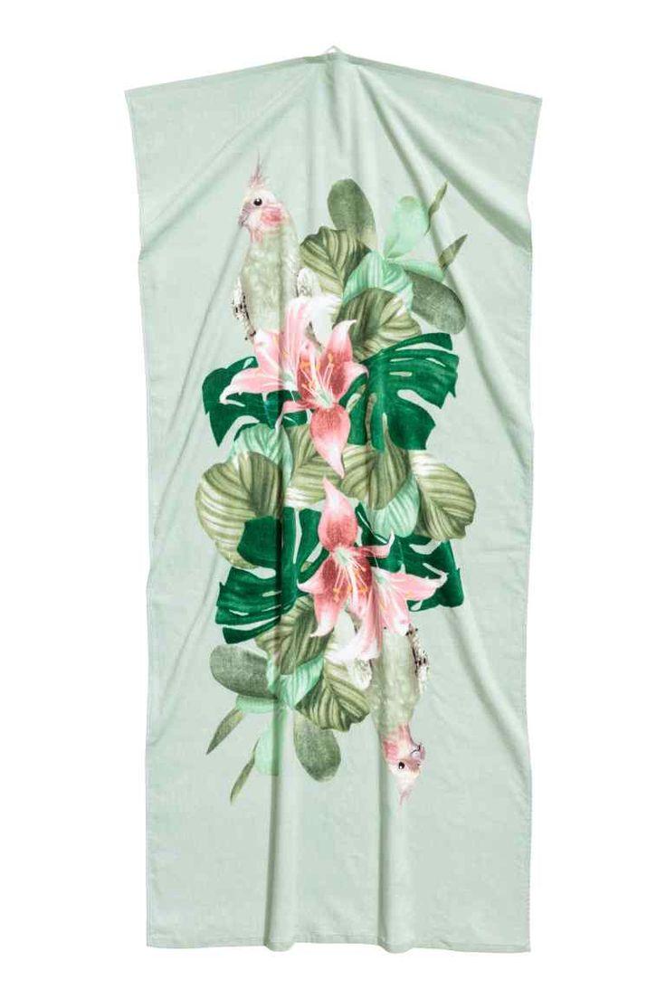 Serviette de plage à motif - Vert menthe/fleuri - Home All | H&M CA