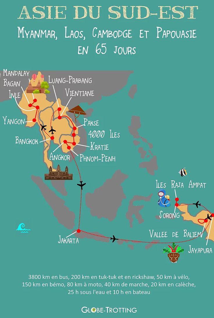 Itinéraire Asie du Sud Est : Myanmar (Birmanie), Laos, Cambodge et Papouasie    Itinerary Myanmar, Laos, Cambodia, Papua    Retrouvez l'itinéraire complet sur mon blog : http://www.globe-trotting.com/itineraire-asie-du-sud-est  south east asia MAP