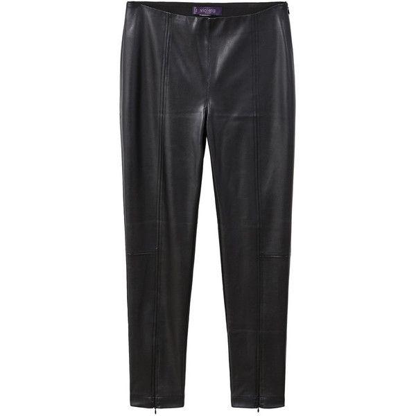 Faux Leather Leggings (£50) ❤ liked on Polyvore featuring pants, leggings, elastic waistband pants, faux leather pants, embellished leggings, side zipper leggings and leather look leggings