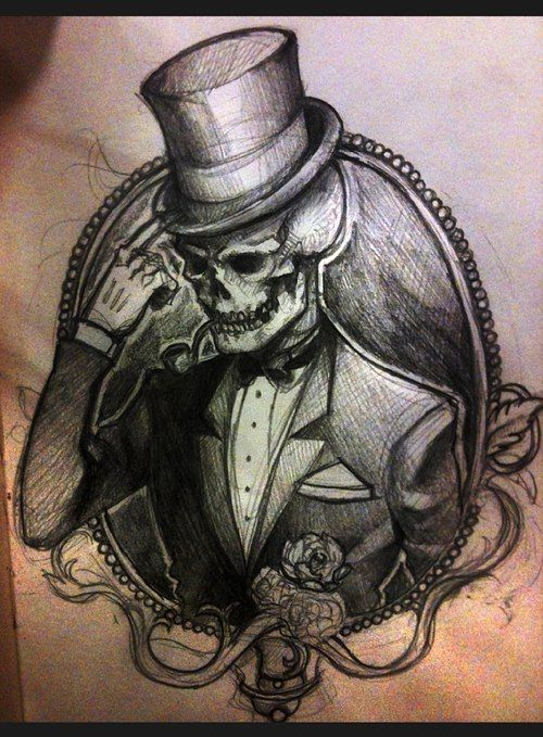 Gentleman Skull Tattoo Sketch