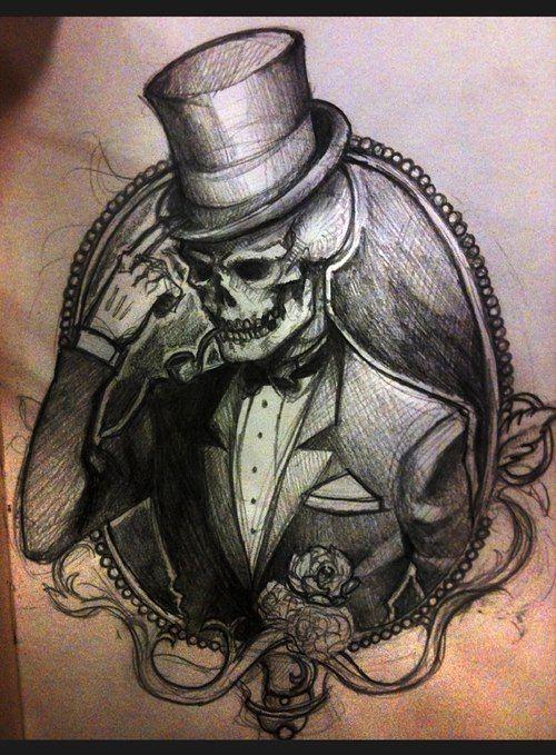 Gentleman Skull Tattoo Sketch