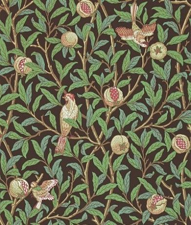 Bird & Pomegranate (212537) - Morris Wallpapers - One of the last of the true Morris designs from 1926, showing birds amongst branches of foliage and pomegranate fruit. Shown in the green and brown colourway.  Please request sample for true colour match.