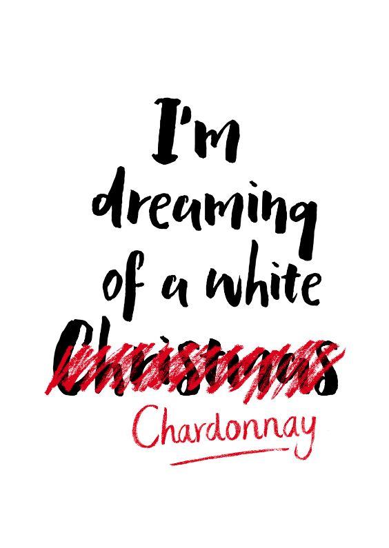 """Kerstkaart met humor, met de tekst """"I'm dreaming of a white Christmas"""", maar dan met een lekkere witte wijn! Deze kerstkaart is verkrijgbaar bij #kaartje2go voor €1,89"""