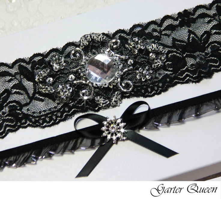 Black Lace Bridal Garter Set Gothic Wedding Goth By GarterQueen 3999