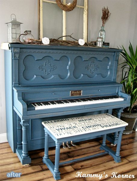 piano makeover and this is tempting....not really happy with the finish on mine anymore. The bench is also a great idea. Hmmmmm..... :)