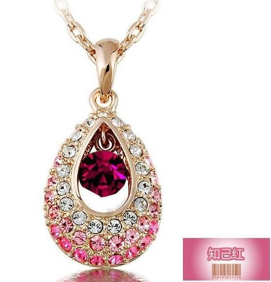 Fashion Crystal Pendants Necklaces Water Drop  Rhinestone Necklaces For Women   Jewellery