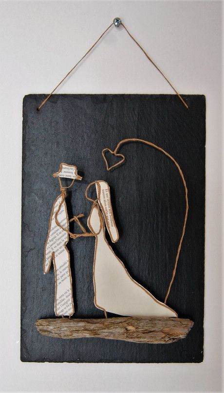 Driftwood, old pages and either twine or wire...Wedding