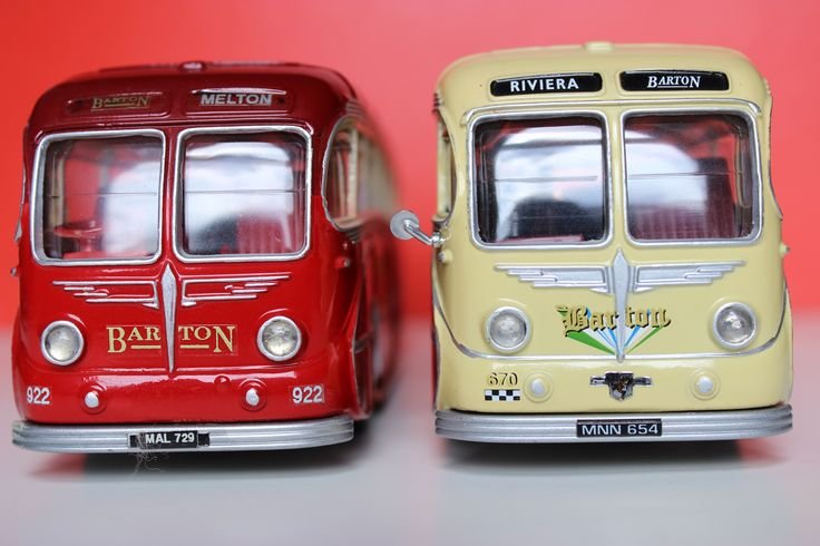 Two Models of Barton Transport Burlingham Seagull bodied vehicles. Leyland Royal Tiger, fleet number 922 & Leyland Royal Tiger, fleet number 670. (Front view)