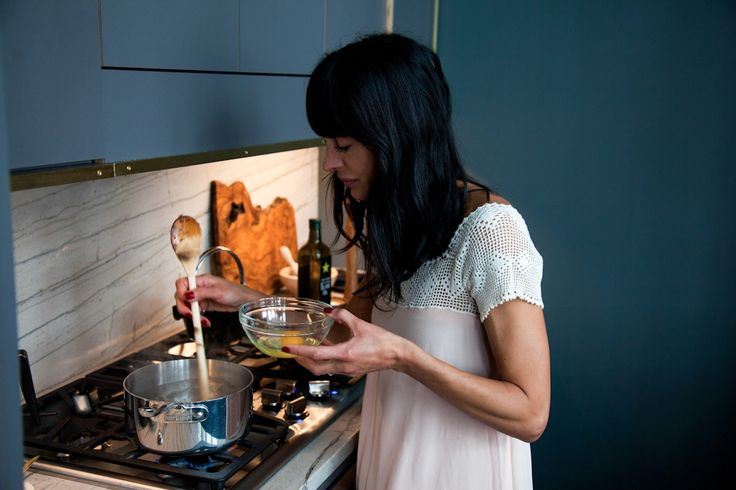 athena calderone prepares butternut squash and poached eggs