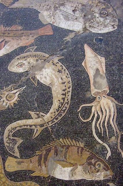 Marine Life Mosaic from House VIII Pompeii demonstrating the vermiculatum technique Roman 2nd century BCE (6) by mharrsch, via Flickr