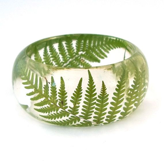 Size Large Pressed  Fern Bangle - Resin Jewelry.  Handmade Botanical Resin Jewelry. Gift for Her, Gift for Mom, Gift for the Nature Lover.