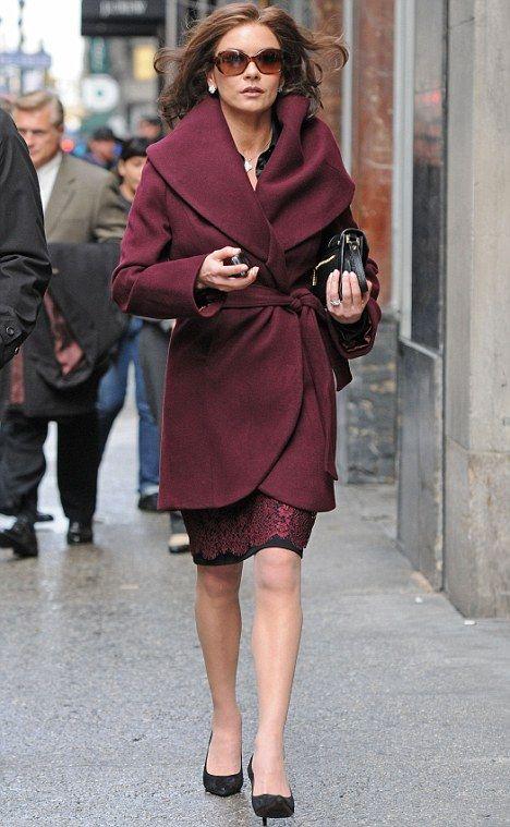 Glamour girl: Catherine Zeta-Jones looked stunning in a maroon ensemble as she filmed new movie Broken City in New York City earlier today