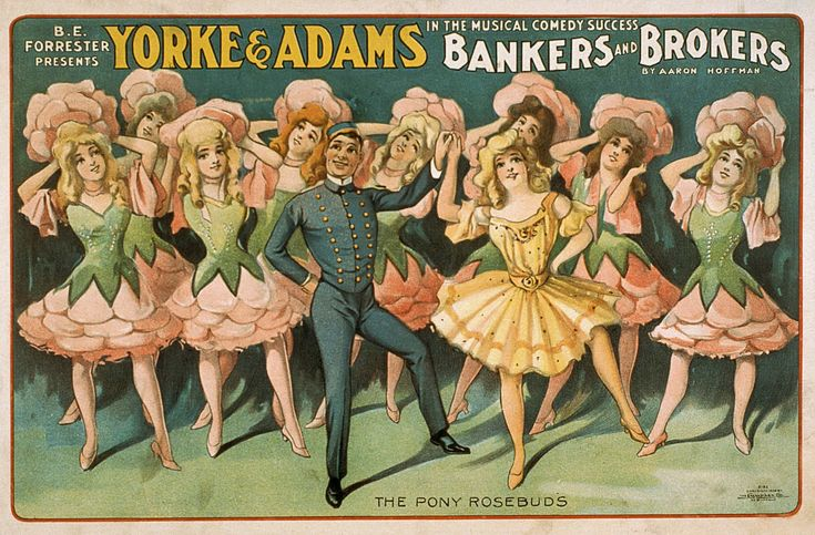 "Theatrical Poster ""Bankers and Brokers"" by Aaron Hoffman, 1906 classic, comedy, high resolution, music, musical, performing arts, play, retro, stage, theatrical, vintage #AdvertisingPosters, #TheatricalPosters"