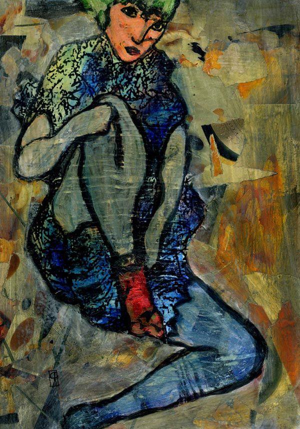 1- KARMA de ARTE. Egon Schiele I      Pintura Mixta.   www.crisacqua.com