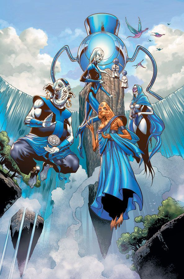 """Blue Lantern Corps- """"In fearful day, in raging night, With strong hearts full, our souls ignite, When all seems lost in the War of Light, Look to the stars-- For hope burns bright!""""  by Doug Mahnke"""