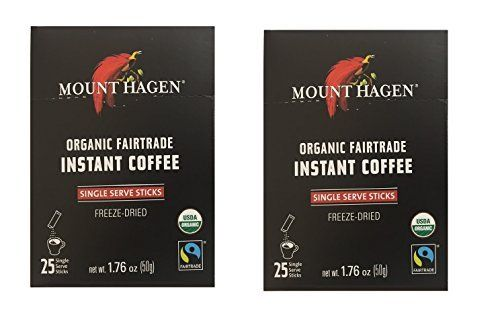 Mount Hagen -REGULAR Organic Instant Coffee Freeze Dried 25 Single Serve Packets- 1.76 Oz Each , (Pack of 2) * For more information, visit image link.