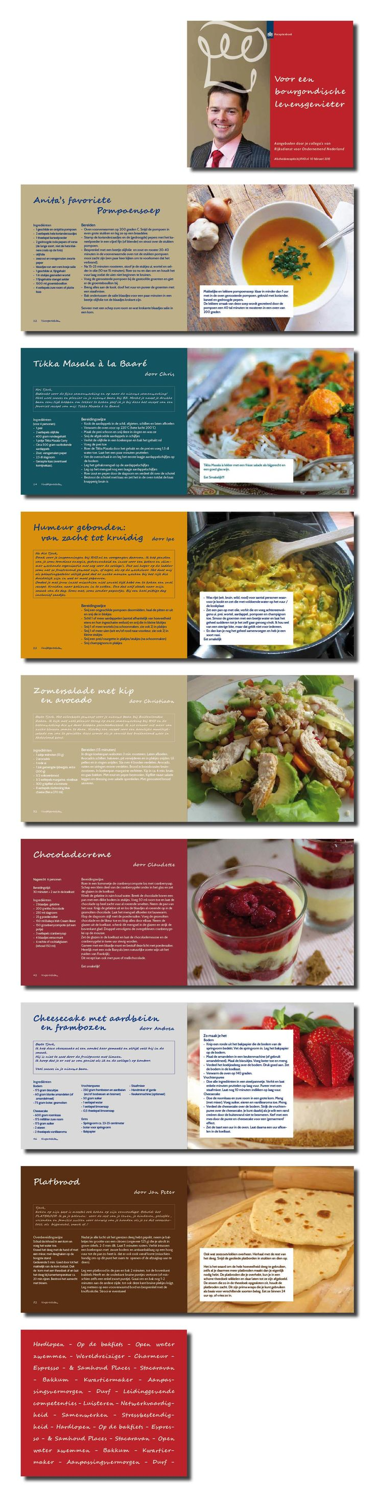 Ontwerp en uitwerking receptenboek, 150 x 170mm, 56 pagina's, incl beeld en tekst redactie