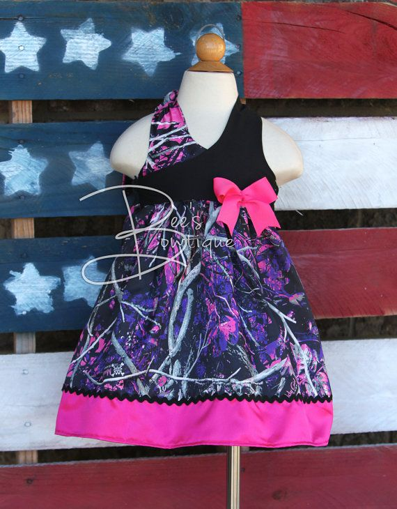 Girls camo halter dress made with muddy girl by BeesBowtique