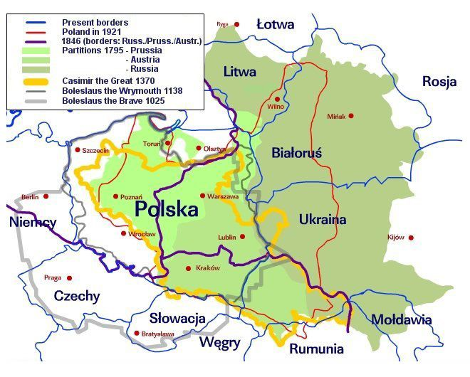Polish History Map: Poland History Illustrated by Border Changes