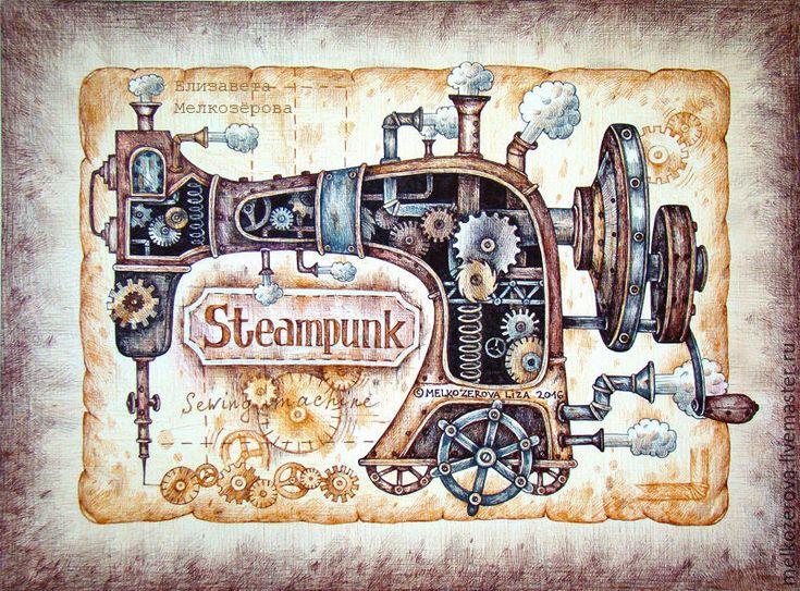 Купить или заказать Картина в раме 'Стимпанк Швейная машинка' ретро коричневый…