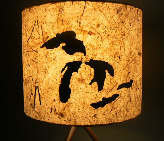 $60   Paper Drum Lamp Shade Great Lakes/ Michigan By LiteandShadow
