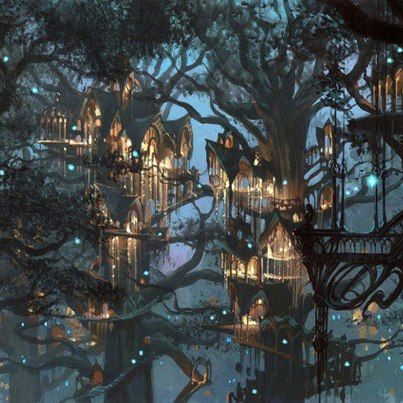 Star  village // I think this may be Lord of the Rings art, but for Starfall, I picture the Alfar homes built up among the branches of the great Redwood trees with steps made of bracket fungi. //
