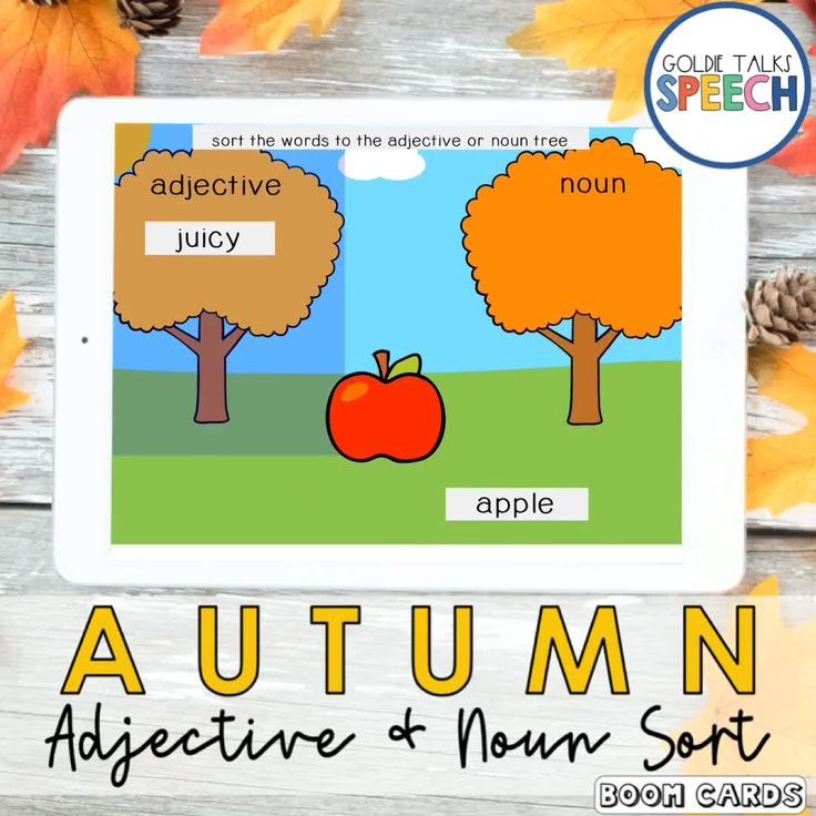 Fall Adjective Noun Sort Boom Cards | Back to School | Autumn