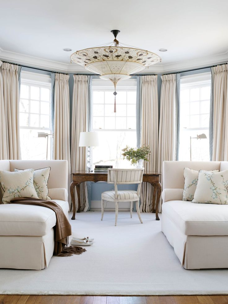 With Its Pale Blue Walls And Plush Cream Wool Chaises Lovely Sitting Area In The Master Bedroom