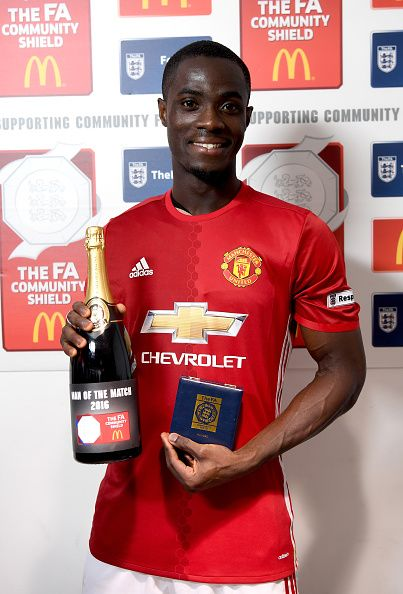 Eric Bailly of Manchester United collects his Man of the Match award after the…