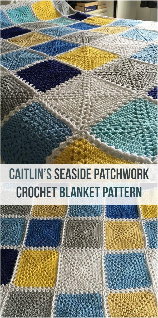 Caitlin's Seaside Patchwork Crochet Blanket Pattern