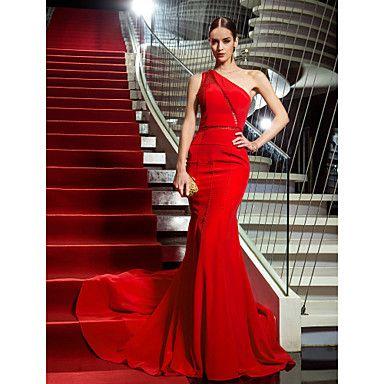 Military Ball / Formal Evening Dress - Ruby Plus Sizes / Petite Trumpet/Mermaid One Shoulder Sweep/Brush Train Chiffon – USD $ 119.99