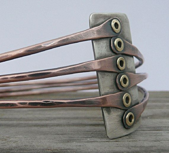 Triple Bangle Bracelet, Cold Connections,  Sterling Silver, Copper, Brass,  Warm Earthy Style