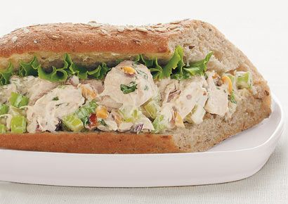 Tarragon Chicken Salad http://www.prevention.com/weight-loss/diets/400-calorie-sandwiches/peanut-butter-and-jelly-sandwich/slide/10