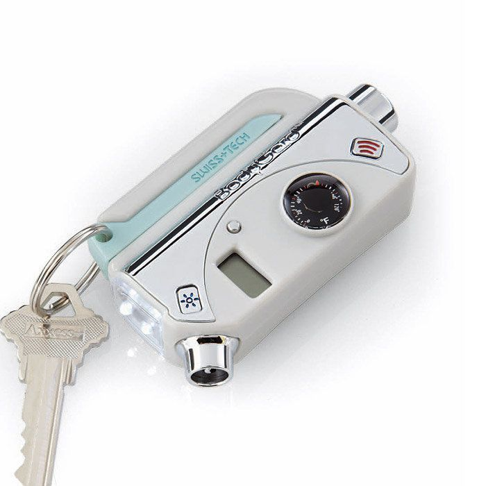 Every daddy's gift to his little girl. The ultimate auto safety device. Includes an automatic glass breaker, seat belt cutter, panic button/personal alarm, flashlight and emergency flasher. It also has a digital tire gauge and thermometer, and it even glows in the dark. I want one