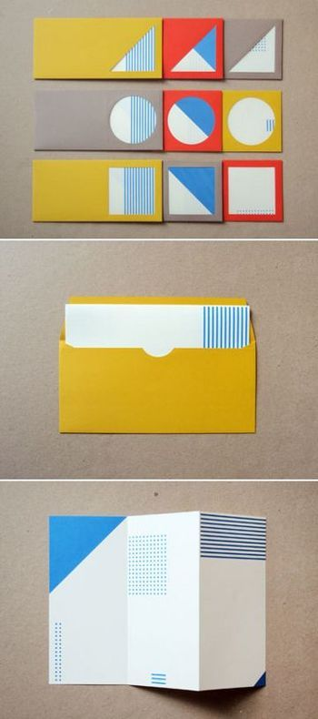 青をポイントに、絶妙な色合いの封筒たち。 並べても単体でもキュート。丸い小窓からのぞく図形でいろんな表情を楽しめます。
