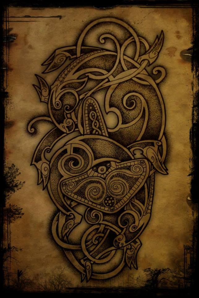 Mjolnir, Tanngrisnir and Tanngnjostr. The latest addition to my tattoo flash series. Artwork by Fernando Amador Tattoo & Art