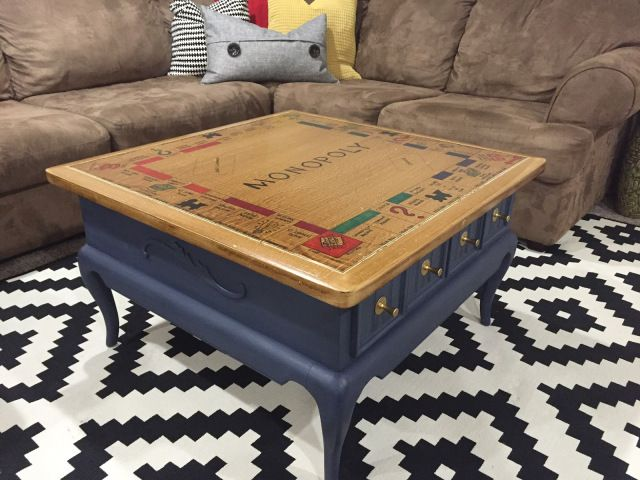 DIY TUTORIAL: Monopoly Table – game room- make your own game table- Monopoly Table -OOH LAH LAH DESIGNS
