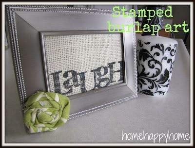 stamped burlap art projectFriends Gift, Crafts Ideas, Art Inspiration, Burlap Frames, Stamps Burlap, Happy Home, Art Projects, Crafty Ideas, Burlap Art