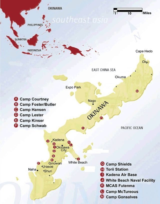 Map Of Okinawa And The Marine Corps And Air Force Bases In Japan - Us military base locations map