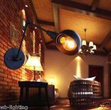 Rustic Iron Black Metal Industrial DIY Wall Lamp Adjustable Wall Light LED Bulb
