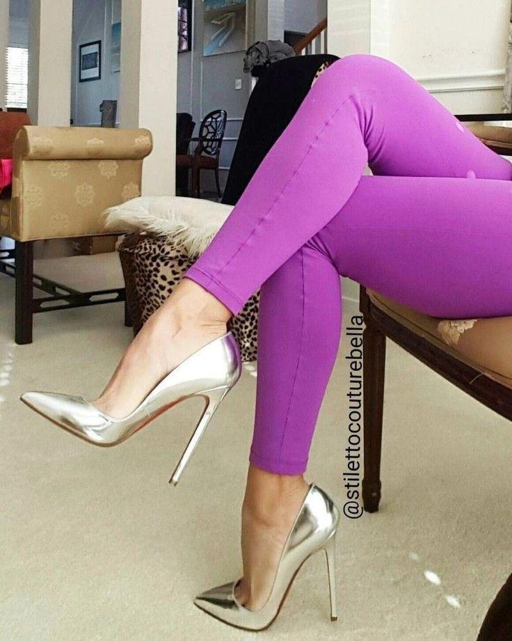 Silver High heels #hothighheelsgirls #highheelsstilettos #highheelswedge