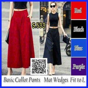 basic cullot pants wedges s533